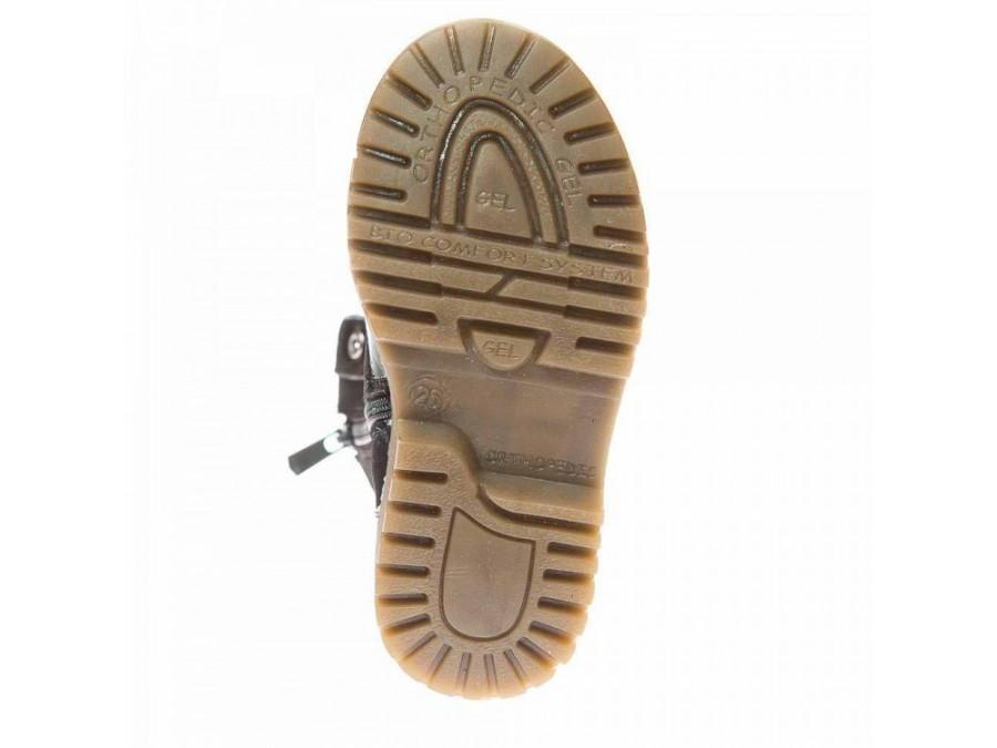 Ботинки зима 3052(12) чёрные лак/замша цветок