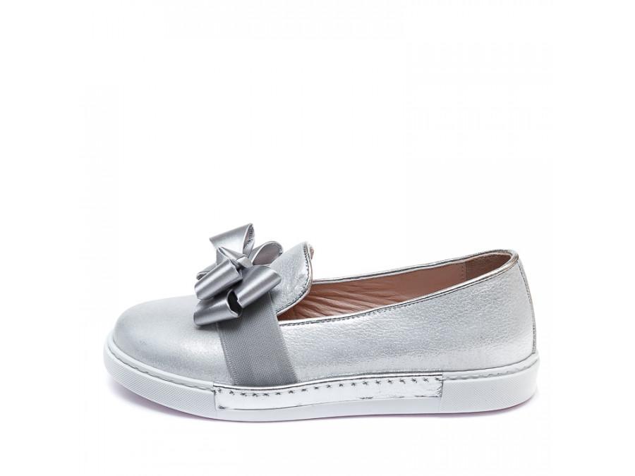 Туфли 51(21-1)(31-36)серебро бантик