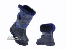 Ботинки зима 1300(31) чёрные с синим мехом